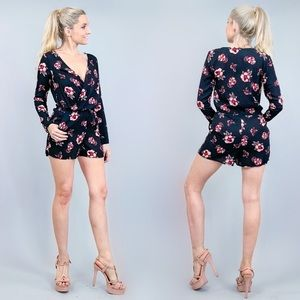 Black and Pink Floral Shorts Romper